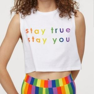H&M•DIVIDED•'Stay true, stay you•tank/crop•NWT